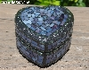 "+MBA #5558-335  "" Small Black & Multi Lavender Blue Satined Glass Heart Shaped Mosaic Jewelry Trinket Box"""