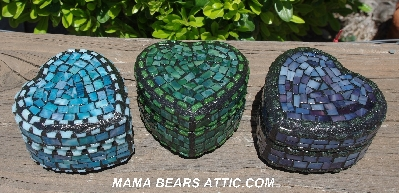 "MBA #5558-345  ""Small Multi Blue Stained Glass Heart Shaped Mosaic Jewelry Trinket Box"""
