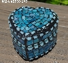 "+MBA #5558-345  ""Small Multi Blue Stained Glass Heart Shaped Mosaic Jewelry Trinket Box"""