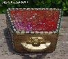 "+MBA #5559-0014  ""Gold & Iridescent Red Stained Glass Purse Shaped Mosaic Jewelry Trinket Box"""