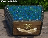 "+MBA #5559-0025  ""Black  & Multi Blue Green Stained Glass Purse Shaped Mosaic Jewelry Trinket Box"""
