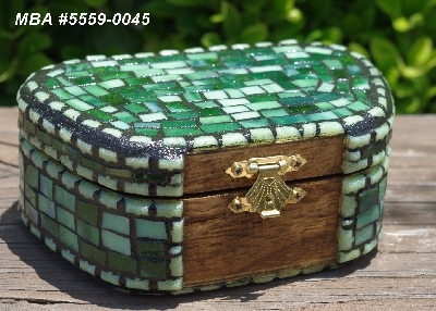 "MBA #5559-0033  ""Multi Green Stained Glass Mosaic Jewelry Trinket Box"""