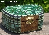 "+MBA #5559-0033  ""Multi Green Stained Glass Mosaic Jewelry Trinket Box"""