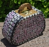 "+MBA #5559-0070  ""White & Iridescent Pink Stained Glass Purse Shaped Mosaic Jewelry Trinket Box"""