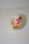**White Marble Egg With Pink Rose