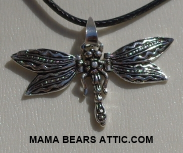 "MBA #5600-258  ""Sterling Dragon Fly Pendant With Hinged Wings"""