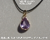 "MBA #5600-334  ""Bezel Set Fancy Pear Cut Amethyst Pendant With 18"" Black Cord"""