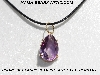 "MBA #5600-340  ""Prong Set Fancy Pear Cut Amethyst Pendant With 18"" Black Cord"""