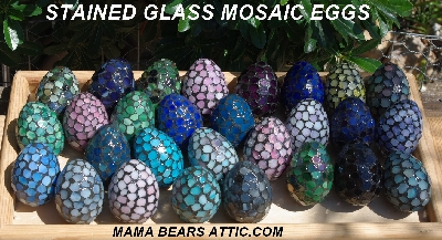"MBA #5600-0027  ""Multi Yellow Stained Glass Mosaic Egg"""