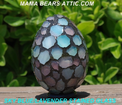 "MBA #5600-0037  ""Sky Blue & Lavender Stained Glass Mosaic Egg"""