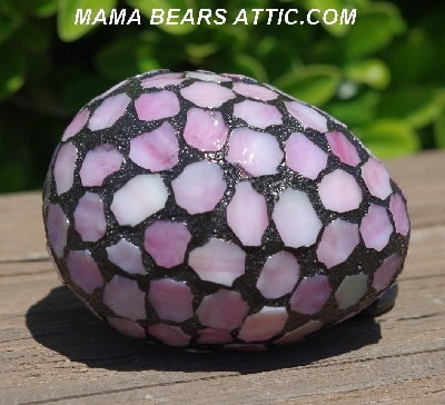 "MBA #5600-0056  ""Multi White & Pink Stained Glass Mosaic Egg"""