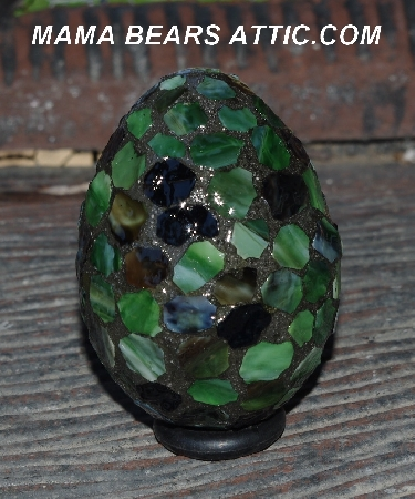 "MBA #5600-0089  ""Multi Green Stained Glass Mosaic Egg"""