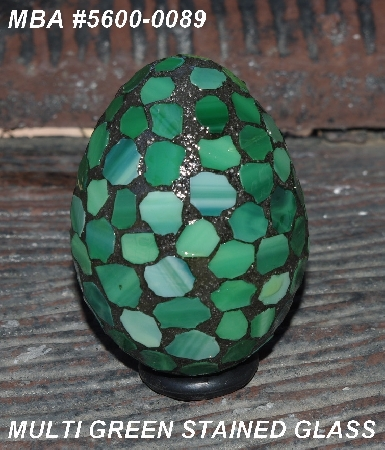"MBA #5600-0096  ""Green Stained Glass Mosaic Egg"""