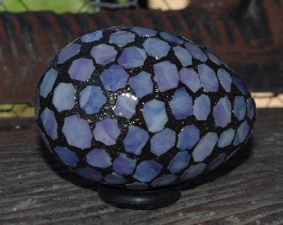 "MBA #5600-114  ""Multi Purple Stained Glass Mosaic Egg"""