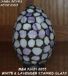 "MBA #5601-0055  ""White & Lavender Stained Glass Mosaic Egg"""