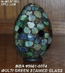 "MBA #5601-0074  ""Multi Green Stained Glass Mosaic Egg"""