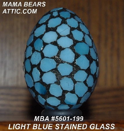 "MBA #5601-199  ""Light Blue Stained Glass Mosaic Egg"""
