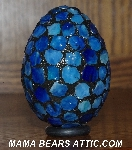 "MBA #5601-233  ""Multi Blue Stained Glass Egg"""