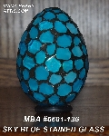 "MBA #5601-136  ""Sky Blue Stained Glass Mosaic Egg"""