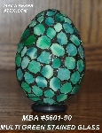 "MBA #5601-90  ""Multi Green Stained Glass Mosaic Egg"""