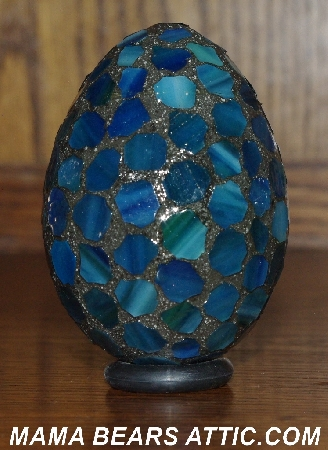 "MBA #5601-87  ""Blue/Green Stained Glass Mosaic Egg"""