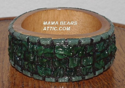 "MBA #5603-0142 ""Green Stained Glass Bangle Bracelet"""