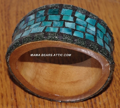 "MBA #5603-149  ""Green & Black Stained Glass Bangle Bracelet"""