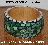 "MBA #5603-124  ""Green & White Stained Glass Bangle Bracelet"""