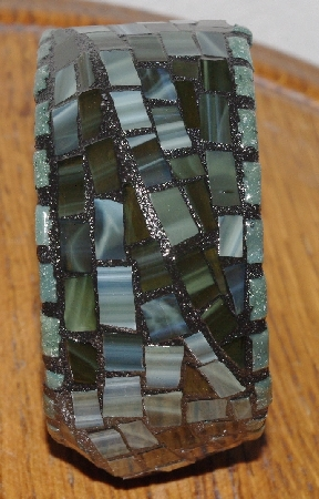 "MBA #5603-0059  ""Deep Green Stained Glass Bangle Bracelet"""