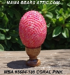 "MBA #5604-180  ""Coral Pink Glass Bead Egg With Stand"""