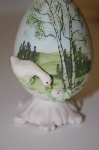 **Fine Bone China Goose Egg On Attached Stand