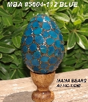 "MBA #5604-112  ""Blue Stained Glass Mosaic Egg With Stand"""