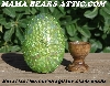 "MBA #5605-315  ""Metallic Lime Green Glass Bead Egg With Stand"""