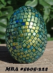 "MBA #5605-322  ""Metallic Peacock Green Glass Bead Egg With Stand"""