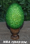 "MBA #5605-334  ""Czech Firepolished Transparent Green Glass Bead Egg With Stand"""