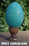 "MBA #5605-385  ""Czech Green Glass Pillow Bead Egg With Stand"""