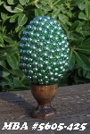 "MBA #5605-425  ""1/2 Green Glass Pearls & Seed Bead Egg With Stand"""