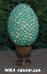 "MBA #434  ""Celestial Crystal Moonscape Mint Green Glass Pearl Egg With Stand"""