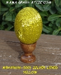 "+MBA #5606-0001 ""Yellow Glass Bugle Bead Egg With Stand"""