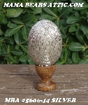 "+MBA #5606-0044  ""Silver Glass Bugle Bead Egg With Stand"""