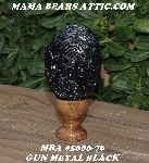 "+MBA #5606-76  ""Gun Metal Black Glass Seed Bead Egg With Stand"""