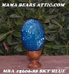 "+MBA #5606-88  ""Sky Blue Glass Bugle Bead Egg With Stand"""