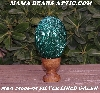 "+MBA #5606-95  ""Silver Lined Green Glass Bugle Bead Egg With Stand"""