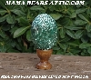 "+MBA #5606-101  ""Silver Lined Mint Green Glass Bugle Bead Egg With Stand"""