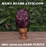 "+MBA #5606-133  ""Dark Purple Glass Bugle Bead Egg With Stand"""