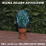 "+MBA #5606-140  ""Transparent Green Glass Bugle Bead Egg With Stand"""