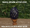 "MBA #5606-169  ""Speckled Blue Glass Bead Mosaic Egg With Stand"""