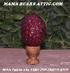 "MBA #5606-181  ""Fire Polished Red Glass Bead Mosaic Egg With Stand"""