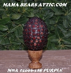 "MBA #5606-188  ""Purple Glass Bead Mosaic Egg With Stand"""