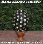 "MBA #5606-193  ""Green Cats Eye Glass Bead Mosaic Egg With Stand"""